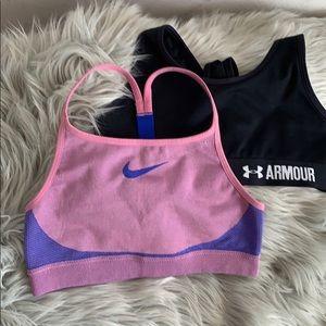 Girls Bundle of 1 Under Armour & 1 Nike sports bra